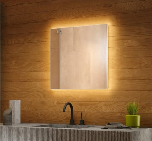 Design spiegel met rondom indirecte verlichting en spiegelverwarming