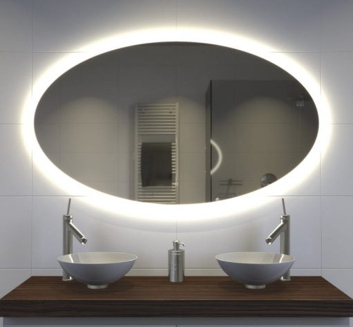Ovalen badkamerspiegel met verlichting en verwarming