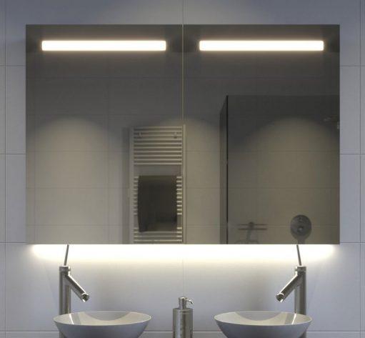100 cm brede aluminium badkamer spiegelkast met verlichting spiegelverwarming en stopcontact