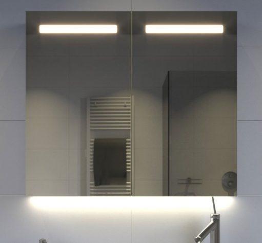 80 cm brede aluminium badkamer spiegelkast met verlichting spiegelverwarming en stopcontact