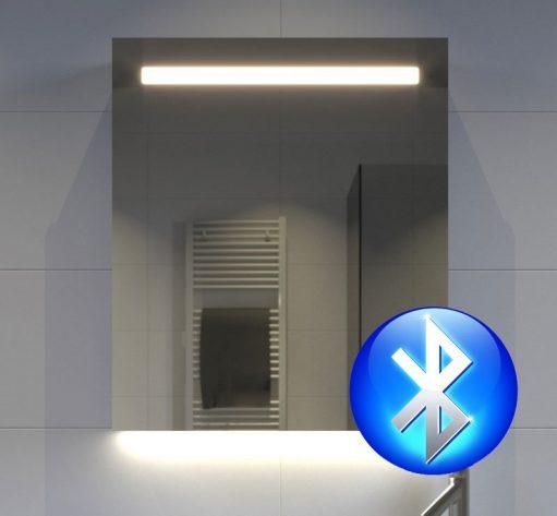 60 cm brede aluminium spiegelkast met verlichting, spiegelverwarming, stopcontact en Bluetooth muzieksysteem