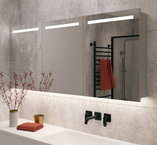 160 cm brede badkamer spiegelkast met verlichting en verwarming
