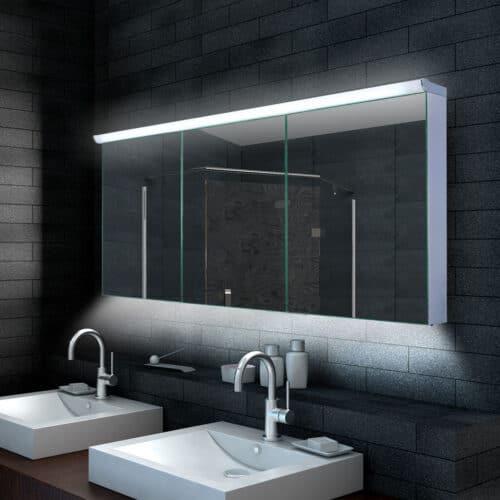 160 cm brede aluminium badkamerspiegelkast met boven verlichting