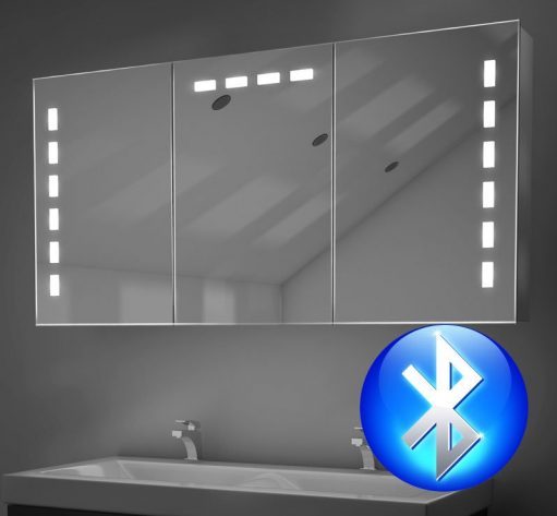 3 deurs aluminium spiegelkast met Bluetooth muziek systeem