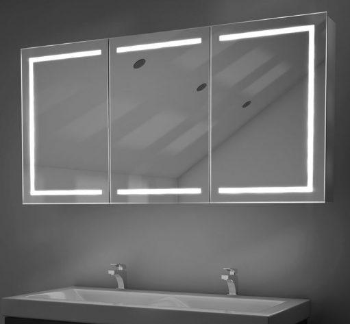 3-deurs aluminium badkamer spiegelkast met hoge lichtopbrengst