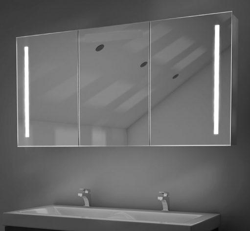 3 deurs aluminium badkamer spiegelkast met verlichting en spiegelverwarming
