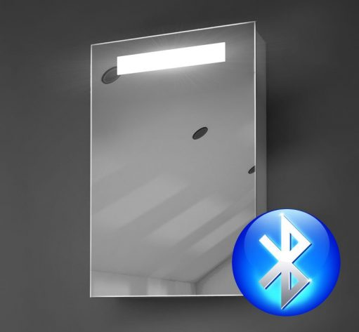 40x60 cm aluminium badkamer spiegelkast met verlichting audio en spiegelverwarming