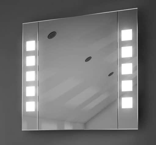 65 cm brede aluminium spiegelkast, uitgevoerd met verlichting en spiegelverwarming