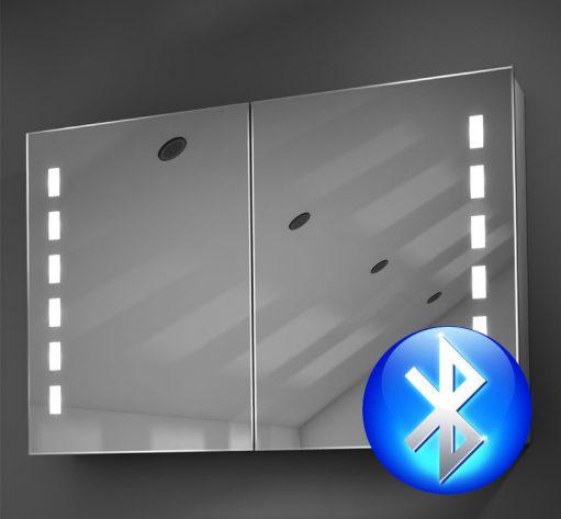 90 cm brede aluminium badkamer spiegelkast met verlichting en spiegelverwarming
