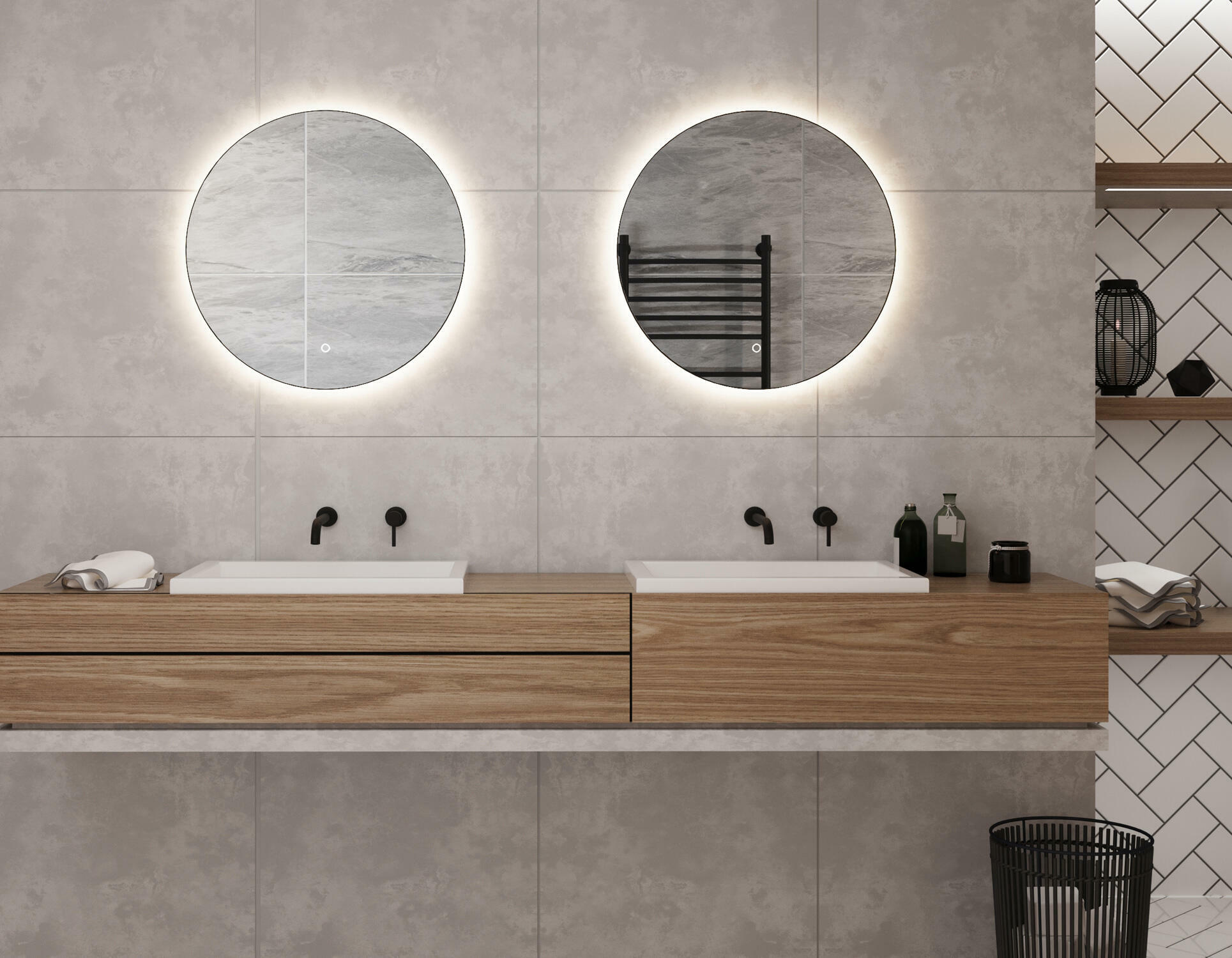 2 ronde spiegels met led verlichting