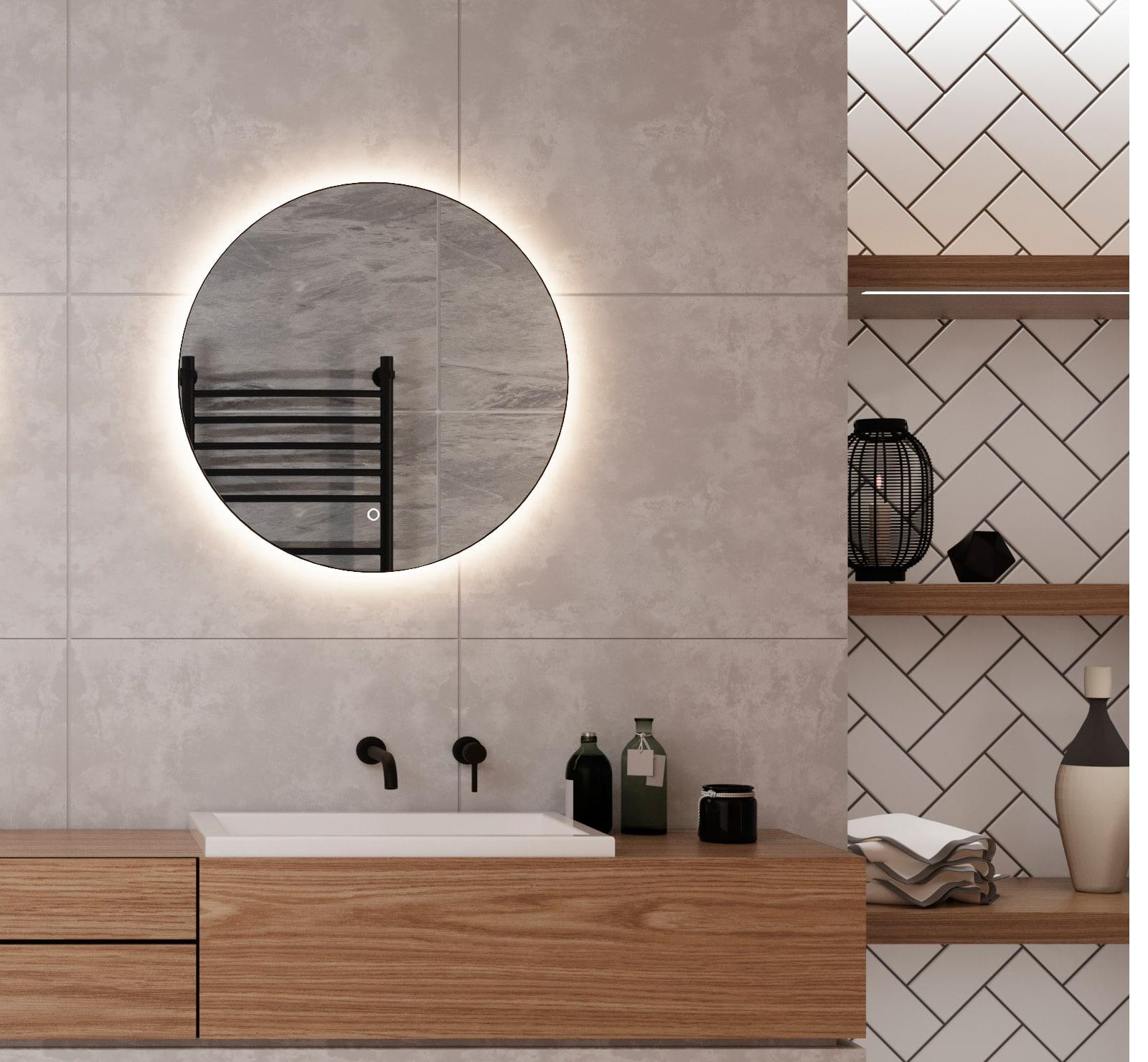 kleine ronde badkamer spiegel met led verlichting