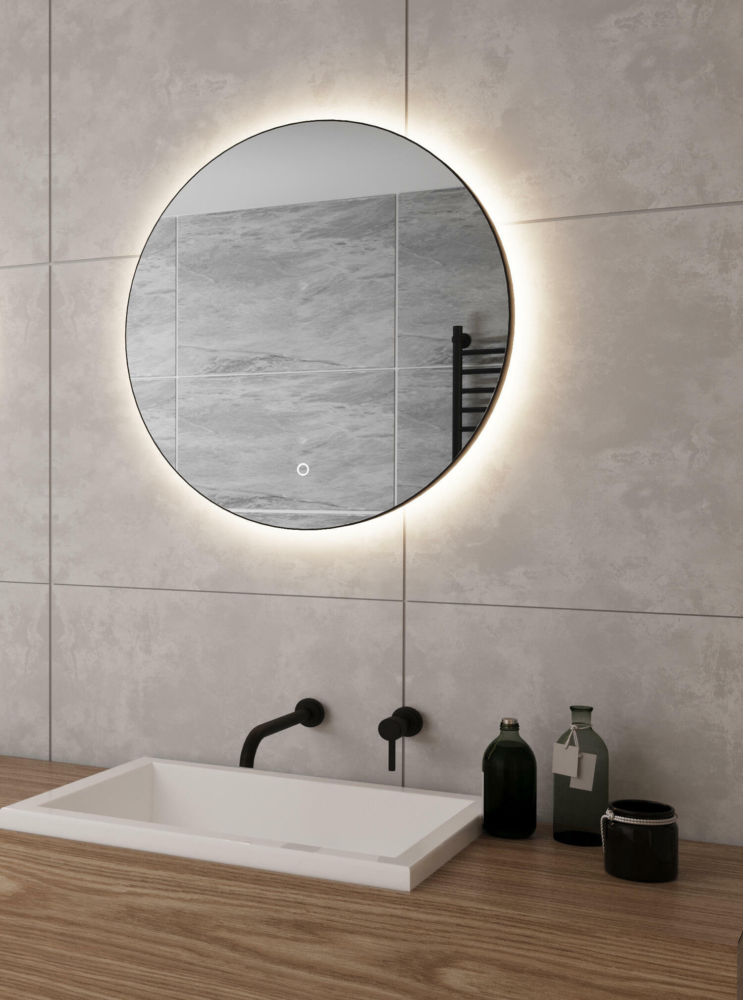 Ronde badkamer spiegel met led verlichting
