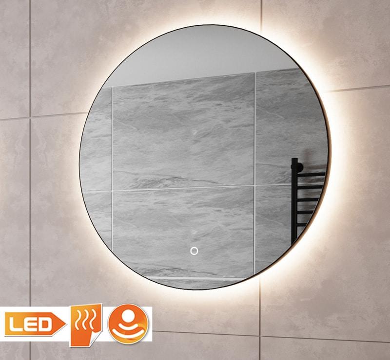 Zwarte ronde spiegel met verlichting op grijze tegel