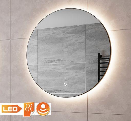 Trendy ronde zwarte badkamerspiegel met verlichting en spiegelverwarming
