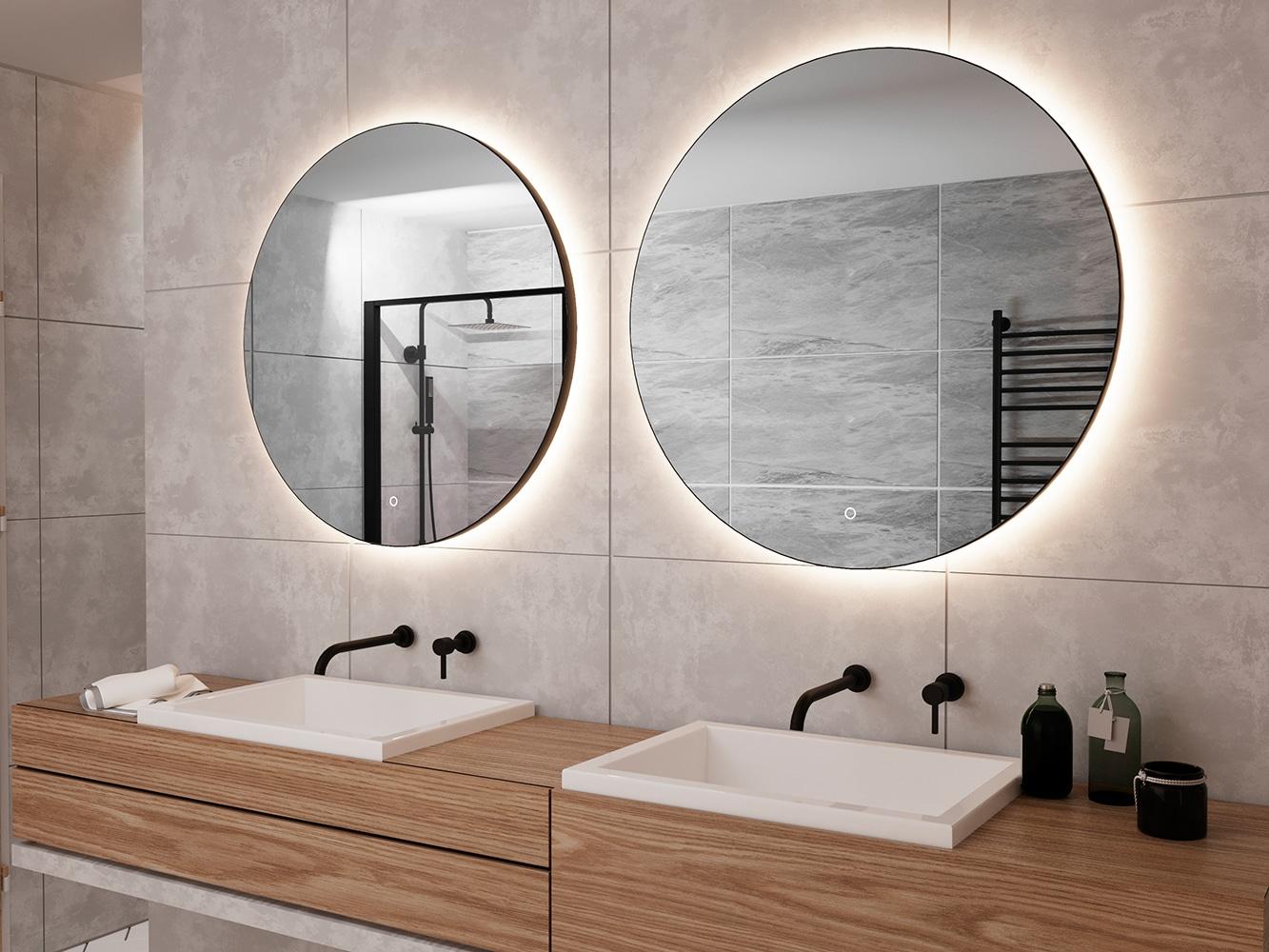 Bij een breed badmeubel is het stijlvol om 2 ronde spiegels naast elkaar te plaatsen!