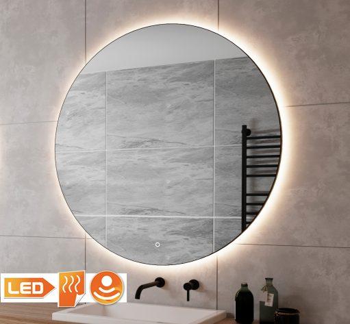Trendy ronde zwarte badkamerspiegel van 120 cm met verlichting en spiegelverwarming