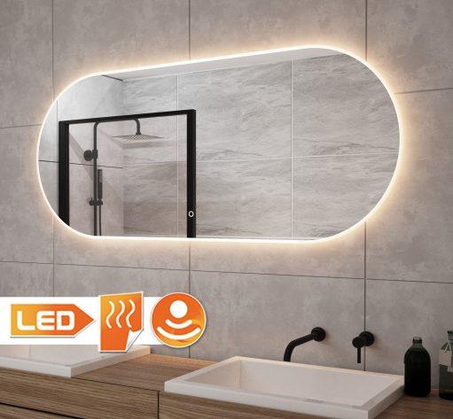Fraaie ovalen badkamer spiegel met verlichting en verwarming 120x60 cm