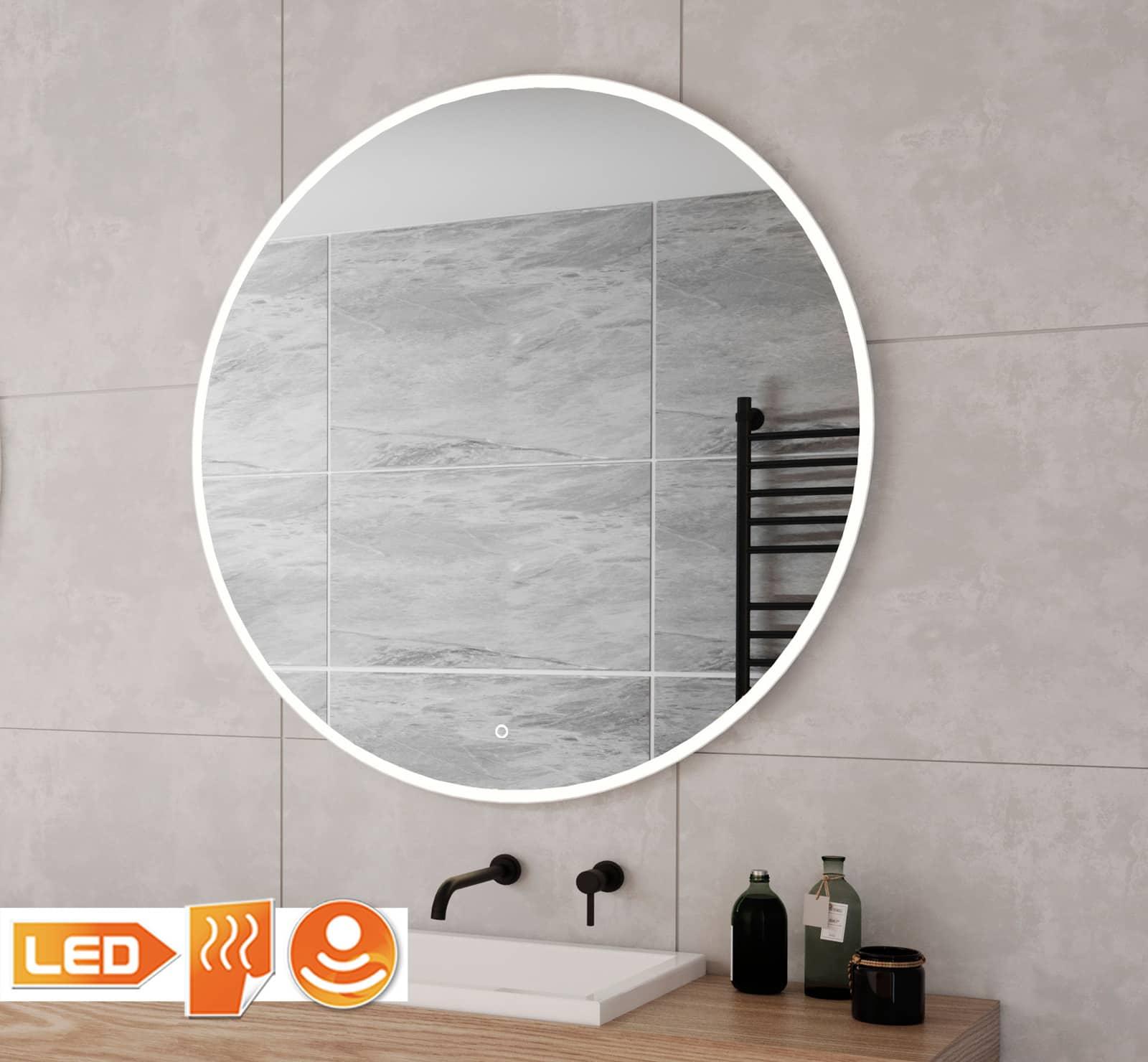 Witte ronde badkamer spiegel grijze tegel met led verlichting en verwarming