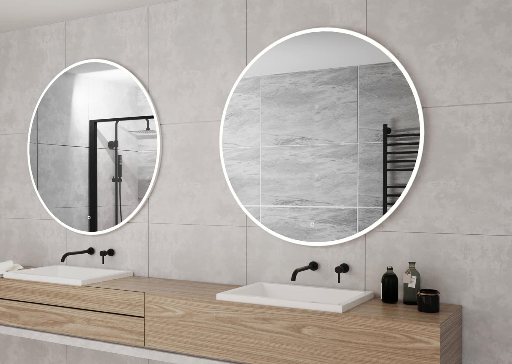 2 witte ronde badkamer spiegels met led verlichting