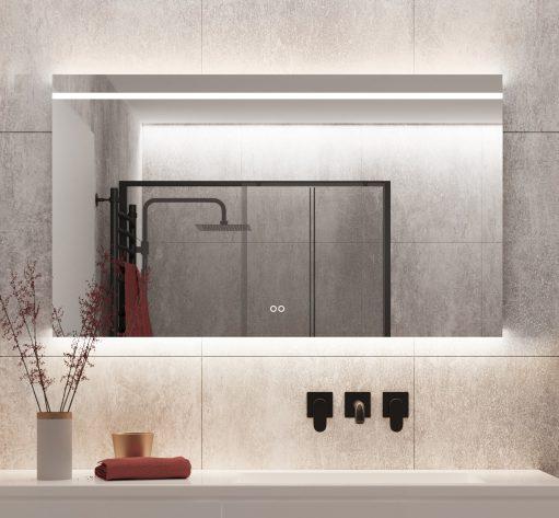Designer badkamer spiegel met instelbare lichtkleur, handig!